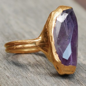 Ring gold ametyste stone